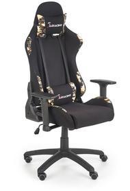 Fotel gabinetowy gamingowy Exodus czarny/moro tkanina/eco skóra Halmar