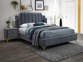 Łóżko sypialniane Monako 160x200 szary velvet/dąb drewno signal