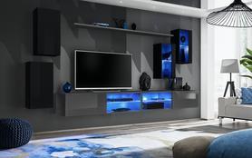 Meblościanka Switch 25 czarny - grafit mat/połysk + LED