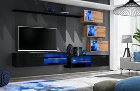 Meblościanka Switch 24 czarny - wotan mat/połysk + LED