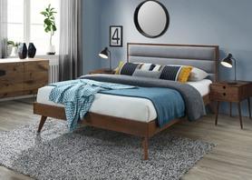 Łóżko sypialniane Orlando 160x200 popiel/orzech tkanina/mdf+okleina/drewno Halmar