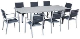 Meble ogrodowe Diverso stół + 8 krzeseł szare aluminium