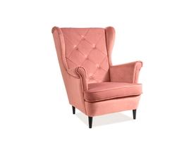 Fotel uszak Lady antyczny róż tkanina velvet signal