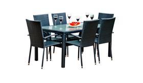 Meble ogrodowe Avvicente stół + 6 krzeseł czarny technorattan