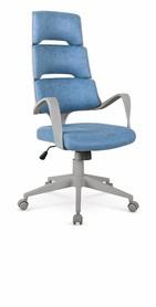 Fotel gabinetowy Calypso niebieski/popiel eco skóra Halmar