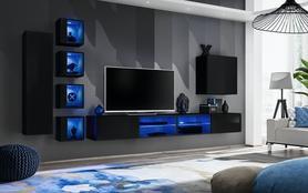 Meblościanka Switch 26 czarny połysk + LED