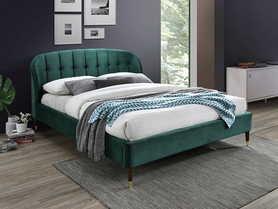 Łóżko sypialniane Liguria zielona tkanina velvet 160x200 signal