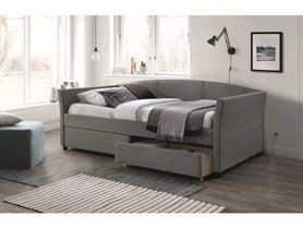Łóżko, leżanka z szufladami Lanta szara tkanina 90x200 signal