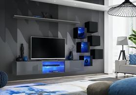 Meblościanka Switch 21 grafit - czarny mat/połysk + LED