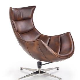 Fotel wypoczynkowy luxor ciemny brąz skóra naturalna/stal halmar