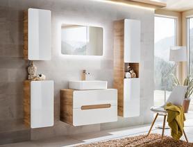 Meble łazienkowe z umywalką Aruba UNI 60 dąb craft złoty/biały połysk + LED