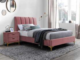 Łóżko sypialniane Mirage 90x200 antyczny róż velvet/złoty metal signal