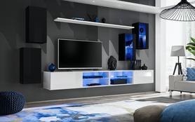 Meblościanka Switch 25 czarno - biały mat/połysk + LED