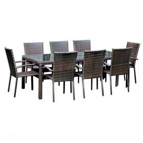 Meble ogrodowe Sottile stół + 8 krzeseł technorattan ciemny brąz