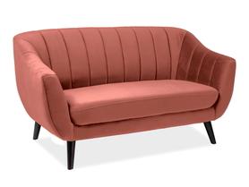 Sofa 2 os. Elite antyczny róż tkanina velvet signal