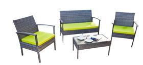 Meble ogrodowe PERFETTO sofa + 2 fotele + ława szary melanż technorattan