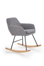 Krzesło bujane york popiel/naturalny tkanina/stal/drewno halmar