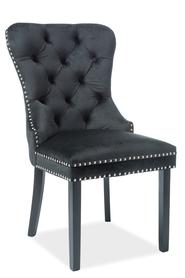 Krzesło August czarna tkanina velvet/czarne drewno signal
