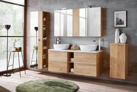Meble łazienkowe z umywalką 140 cm Capri dąb craft złoty + LED