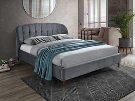 Łóżko sypialniane Liguria szara tkanina velvet 160x200 signal