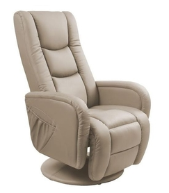 Fotel wypoczynkowy podgrzewany z masażem pulsar cappuccino eco skóra/pvc halmar
