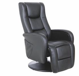 Fotel wypoczynkowy podgrzewany z masażem pulsar czerń eco skóra/pvc halmar
