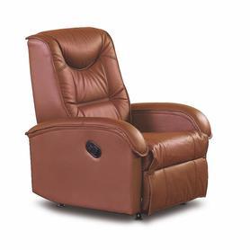 Fotel wypoczynkowy rozkładany jeff brąz eco skóra halmar