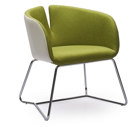 Fotel/krzesło pivot zieleń/biel tkanina/eco skóra halmar