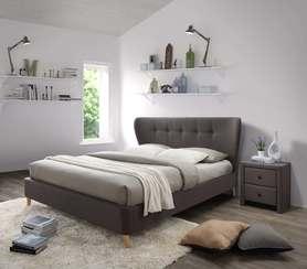 Łóżko sypialniane viena 160x200 brązowa tkanina/drewno halmar
