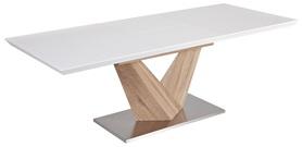 Stół Alaras 140(200)x85 biały/dąb sonoma mdf/stal szczotkowana Signal