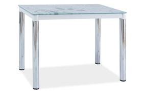 Szklany stół damar ii biały/chrom 100x60 signal
