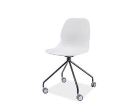 Krzesło na kółkach alfio czarny/biały tworzywo signal