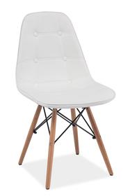 Krzesło Axel biała ekoskóra/drewno bukowe signal
