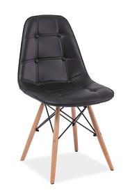 Krzesło Axel czarna ekoskóra/drewno bukowe signal