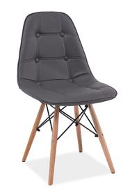 Krzesło Axel szara ekoskóra/drewno bukowe signal