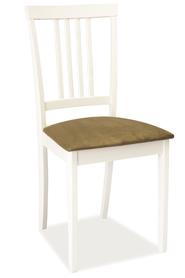 Krzesło CD-63 białe drewno/tkanina beż signal