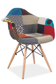 Krzesło Denis a tkanina patchwork/drewno buk signal