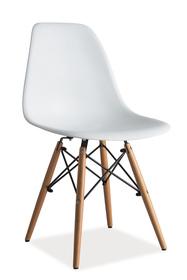 Krzesło Enzo białe tworzywo/drewno buk signal