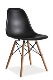Krzesło Enzo czarne tworzywo/drewno buk signal
