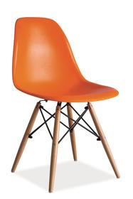 Krzesło Enzo pomarańcz tworzywo/drewno buk signal