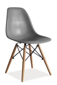 Krzesło Enzo szare tworzywo/drewno buk signal