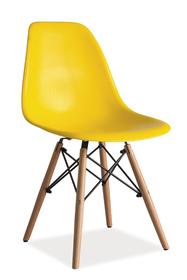 Krzesło Enzo żółte tworzywo/drewno buk signal