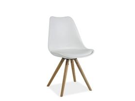 Krzesło Eric biała ekoskóra/tworzywo/drewno buk signal