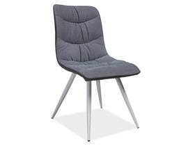 Krzesło Evita szara tkanina+eko/biały metal signal