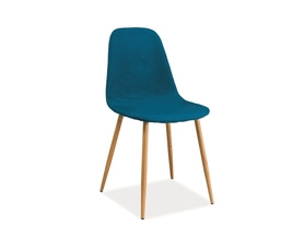 Krzesło Fox tapicerka morski/dąb metal signal