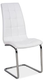 Krzesło h-103 białe/chrom ekoskóra płozy signal