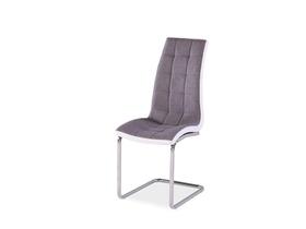 Krzesło H-103 szaro-biała tkanina+ekoskóra/tkanina płozy signal