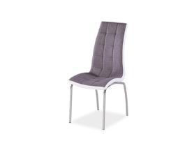 Krzesło H-104 szara tkanina + biała ekoskóra/tkanina signal