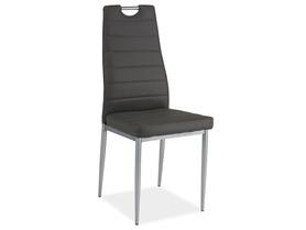 Krzesło H-260 szara ekoskóra/chrom signal