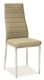 Krzesło H-261 ciemny beż ekoskóra/chrom signal